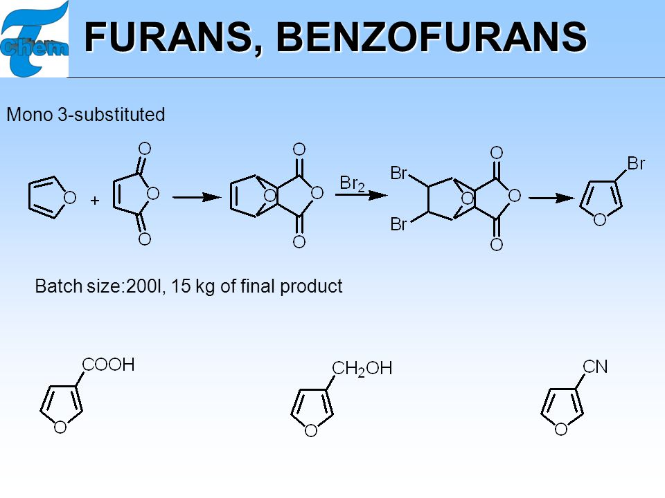 FURANS, BENZOFURANS Mono 3-substituted Batch size:200l, 15 kg of final product