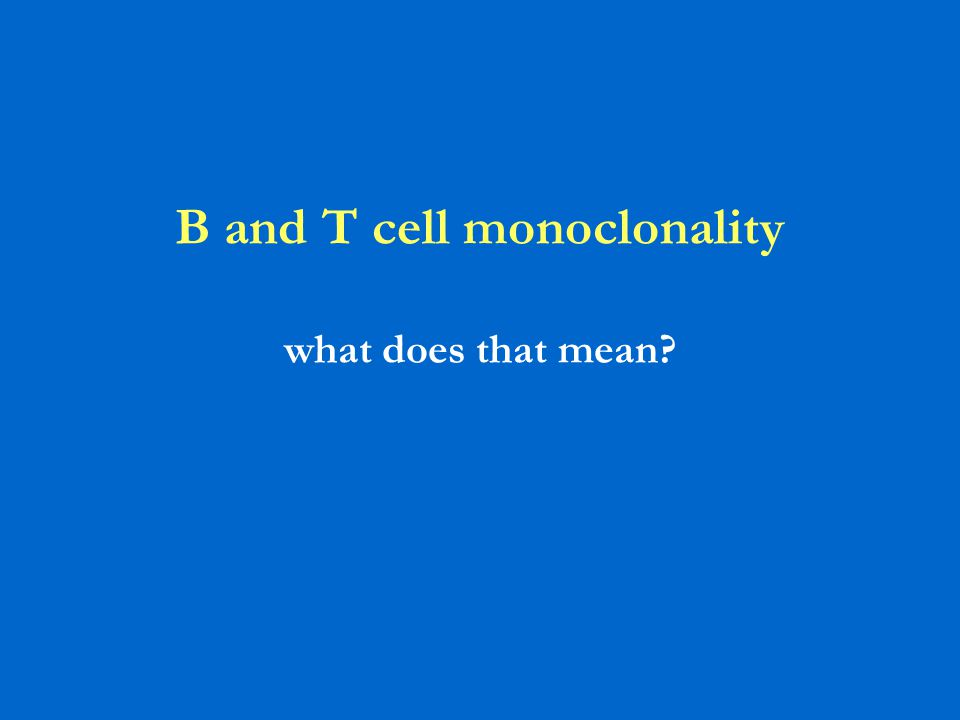 B and T cell monoclonality what does that mean?