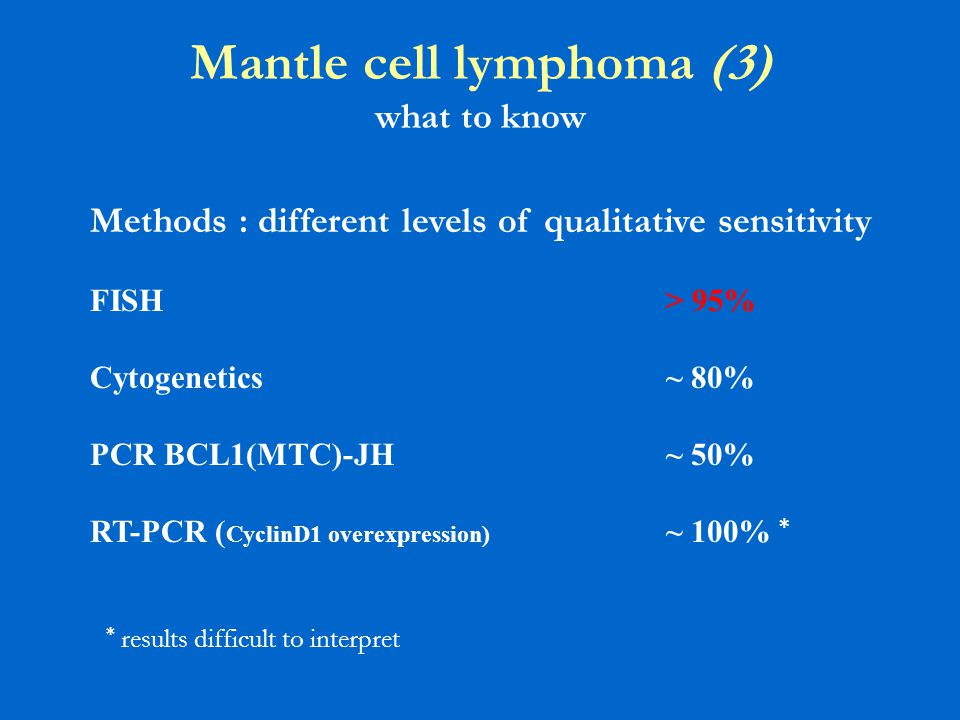 Mantle cell lymphoma (3) what to know Methods : different levels of qualitative sensitivity FISH> 95% Cytogenetics~ 80% PCR BCL1(MTC)-JH~ 50% RT-PCR (