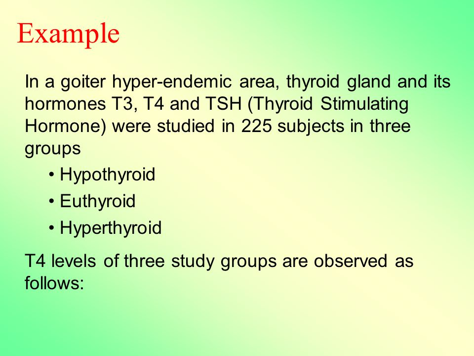Example In a goiter hyper-endemic area, thyroid gland and its hormones T3, T4 and TSH (Thyroid Stimulating Hormone) were studied in 225 subjects in three groups Hypothyroid Euthyroid Hyperthyroid T4 levels of three study groups are observed as follows:
