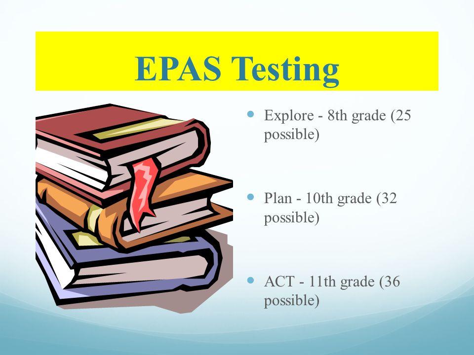 EPAS Testing Explore - 8th grade (25 possible) Plan - 10th grade (32 possible) ACT - 11th grade (36 possible)