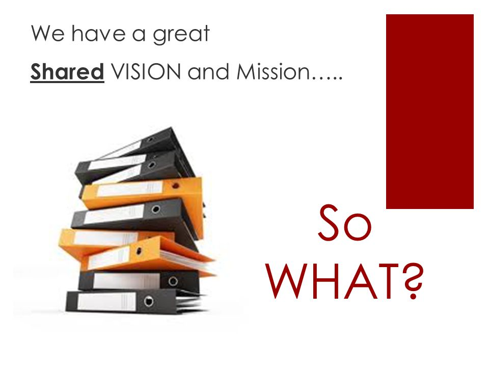 So WHAT We have a great Shared VISION and Mission…..