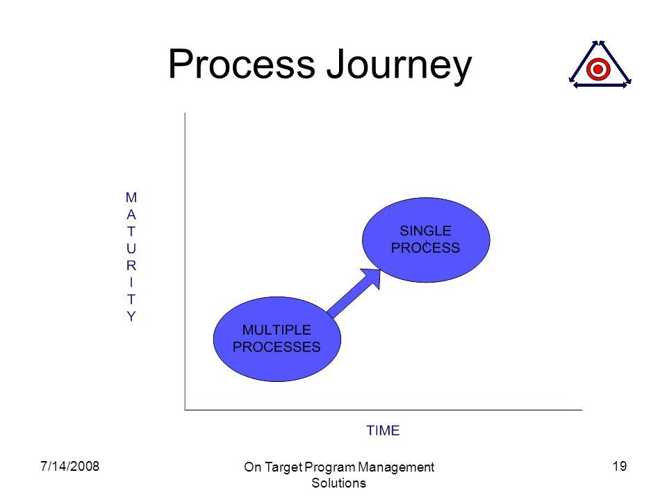 7/14/2008 On Target Program Management Solutions 19 Process Journey