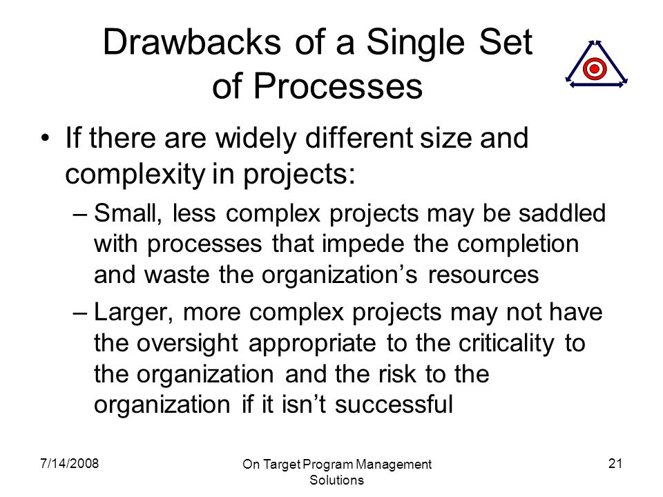 7/14/2008 On Target Program Management Solutions 21 Drawbacks of a Single Set of Processes If there are widely different size and complexity in projects: –Small, less complex projects may be saddled with processes that impede the completion and waste the organization's resources –Larger, more complex projects may not have the oversight appropriate to the criticality to the organization and the risk to the organization if it isn't successful