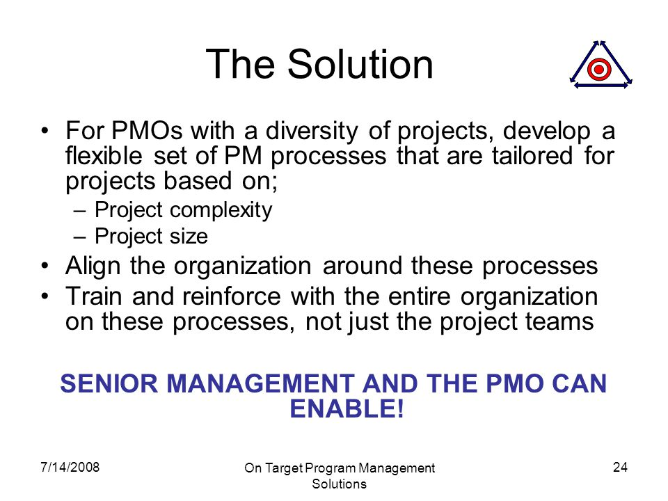7/14/2008 On Target Program Management Solutions 24 The Solution For PMOs with a diversity of projects, develop a flexible set of PM processes that are tailored for projects based on; –Project complexity –Project size Align the organization around these processes Train and reinforce with the entire organization on these processes, not just the project teams SENIOR MANAGEMENT AND THE PMO CAN ENABLE!