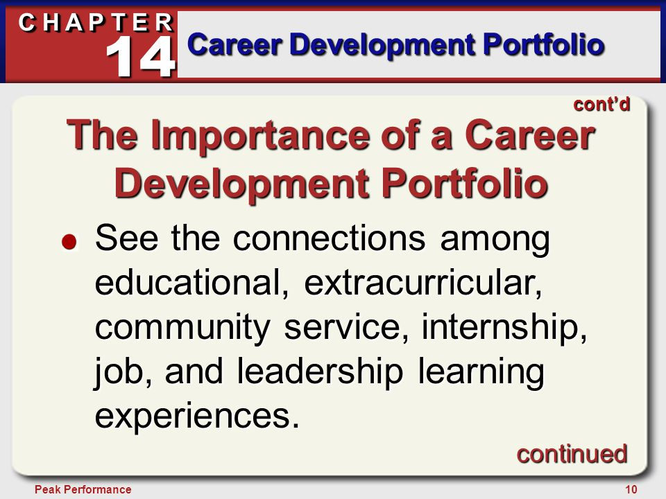 10Peak Performance C H A P T E R Career Development Portfolio 14 continued cont'd The Importance of a Career Development Portfolio See the connections among educational, extracurricular, community service, internship, job, and leadership learning experiences.