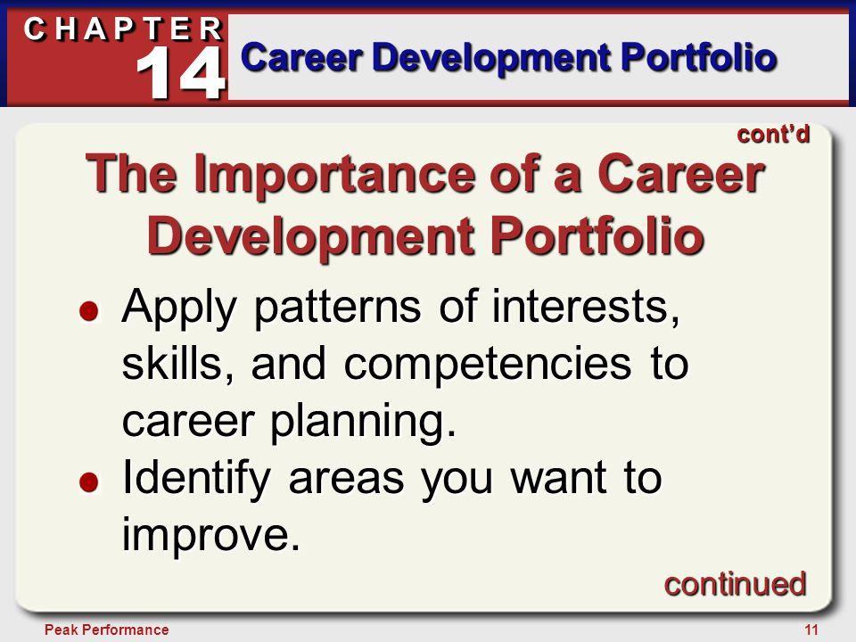11Peak Performance C H A P T E R Career Development Portfolio 14 continued cont'd The Importance of a Career Development Portfolio Apply patterns of i