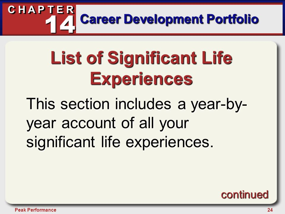 24Peak Performance C H A P T E R Career Development Portfolio 14 List of Significant Life Experiences This section includes a year-by- year account of all your significant life experiences.