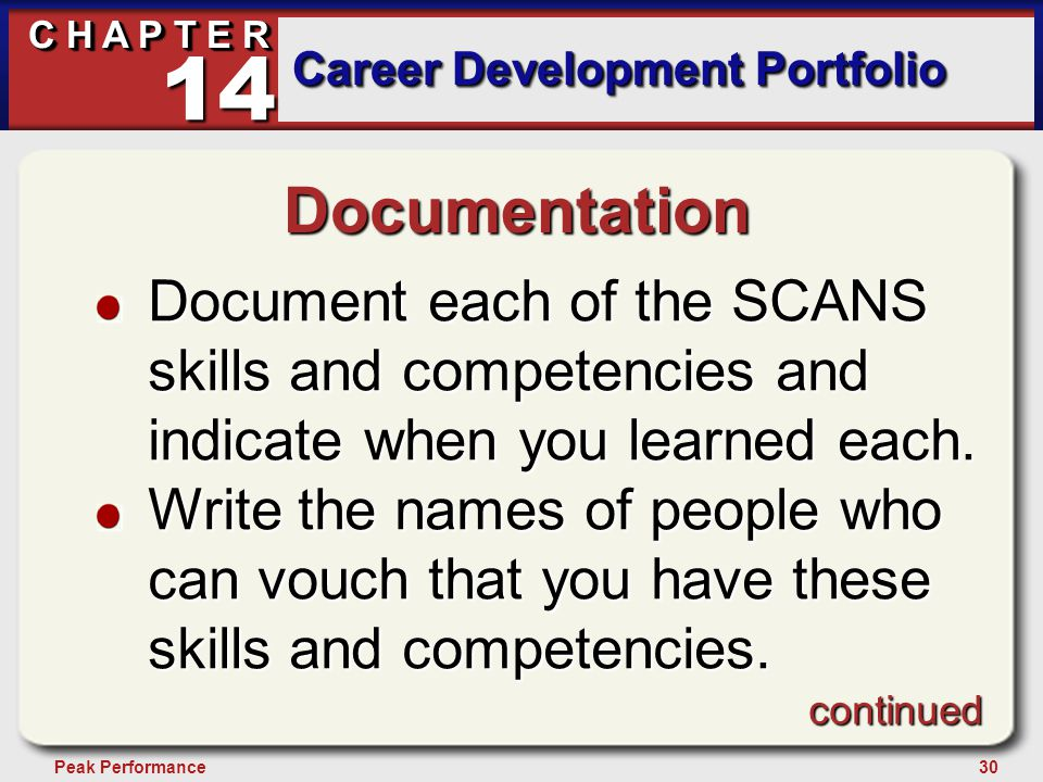 30Peak Performance C H A P T E R Career Development Portfolio 14 Documentation Document each of the SCANS skills and competencies and indicate when yo