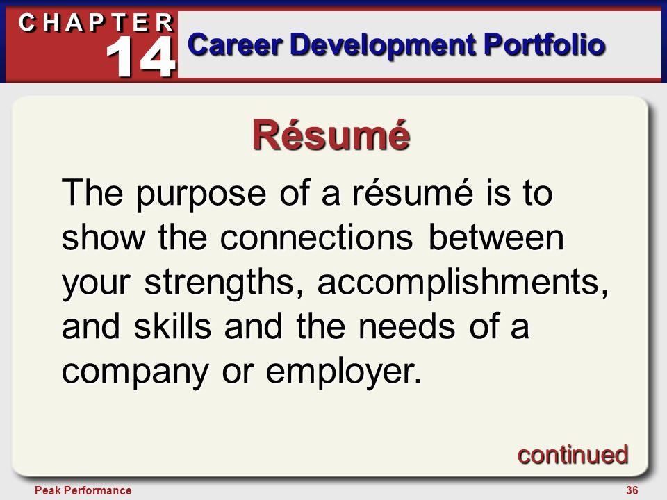 36Peak Performance C H A P T E R Career Development Portfolio 14 Résumé The purpose of a résumé is to show the connections between your strengths, acc