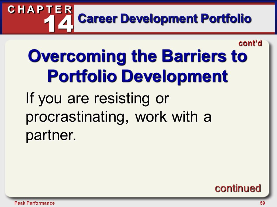 59Peak Performance C H A P T E R Career Development Portfolio 14 Overcoming the Barriers to Portfolio Development If you are resisting or procrastinating, work with a partner.