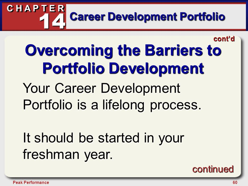 60Peak Performance C H A P T E R Career Development Portfolio 14 Overcoming the Barriers to Portfolio Development Your Career Development Portfolio is a lifelong process.