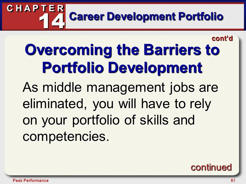 61Peak Performance C H A P T E R Career Development Portfolio 14 Overcoming the Barriers to Portfolio Development As middle management jobs are eliminated, you will have to rely on your portfolio of skills and competencies.