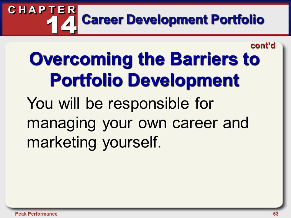 63Peak Performance C H A P T E R Career Development Portfolio 14 Overcoming the Barriers to Portfolio Development You will be responsible for managing your own career and marketing yourself.