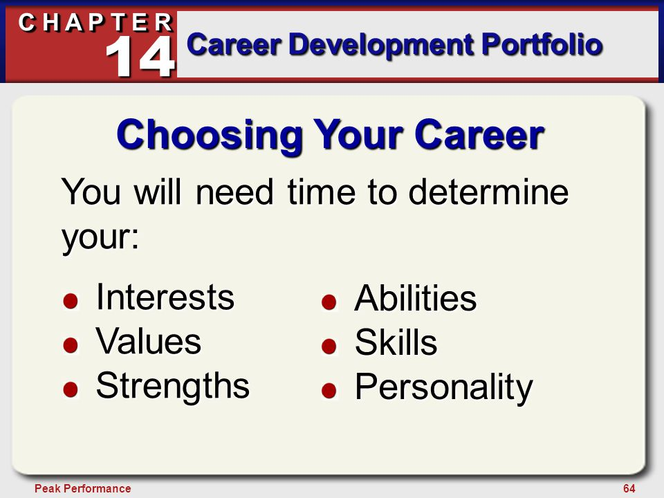 64Peak Performance C H A P T E R Career Development Portfolio 14 Choosing Your Career You will need time to determine your: InterestsValuesStrengths AbilitiesSkillsPersonality