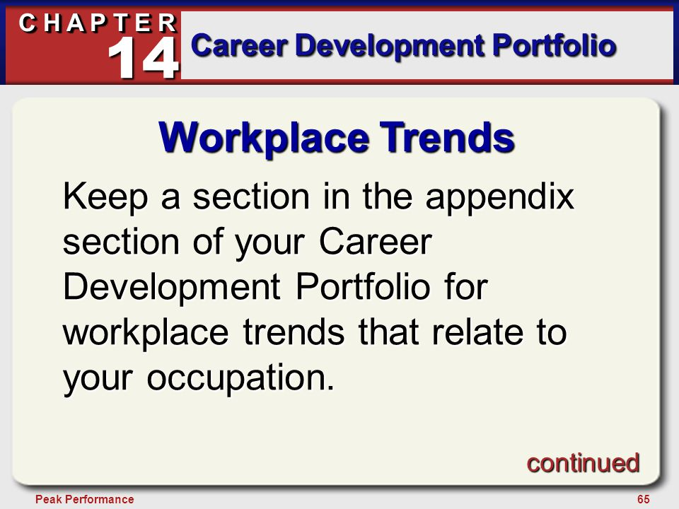 65Peak Performance C H A P T E R Career Development Portfolio 14 Workplace Trends Keep a section in the appendix section of your Career Development Portfolio for workplace trends that relate to your occupation.