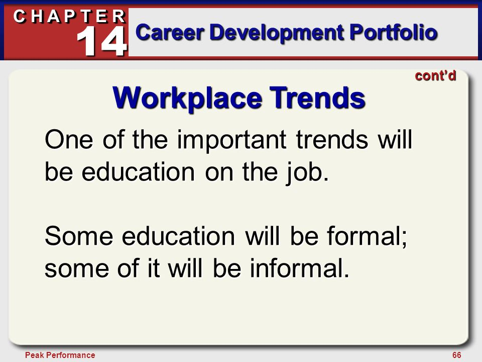 66Peak Performance C H A P T E R Career Development Portfolio 14 Workplace Trends One of the important trends will be education on the job. Some educa