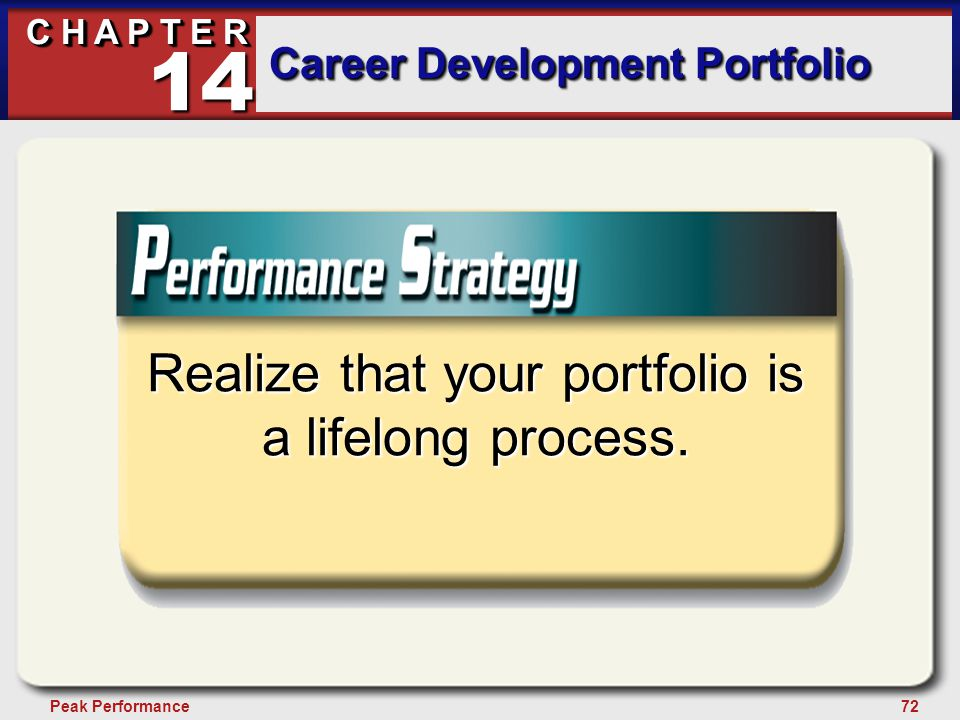 72Peak Performance C H A P T E R Career Development Portfolio 14 Realize that your portfolio is a lifelong process.