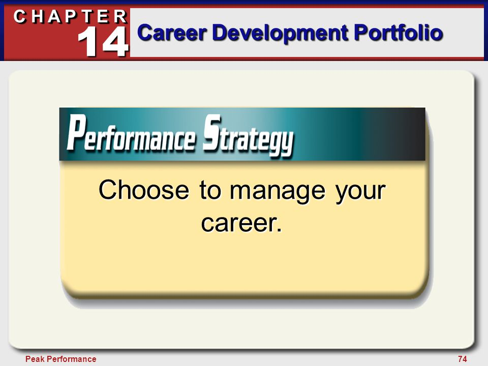74Peak Performance C H A P T E R Career Development Portfolio 14 Choose to manage your career.