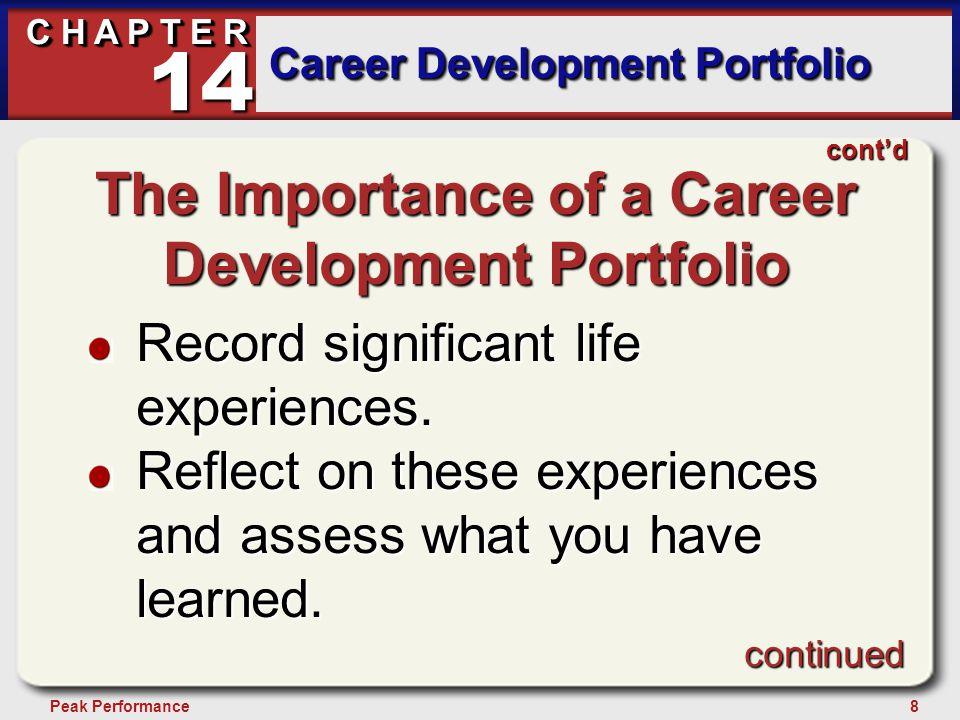 8Peak Performance C H A P T E R Career Development Portfolio 14 continued cont'd The Importance of a Career Development Portfolio Record significant l