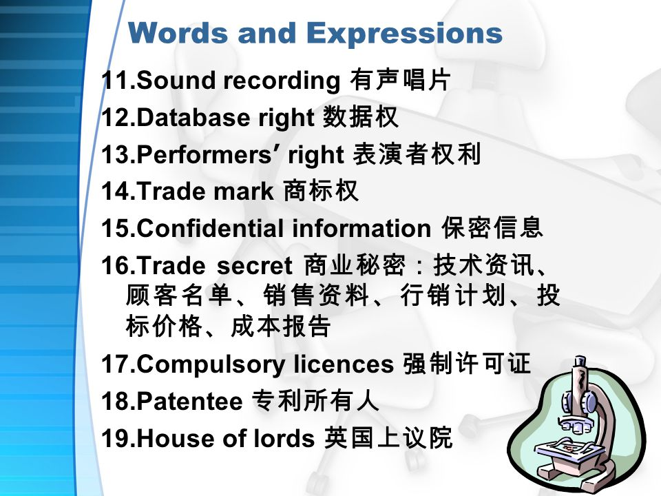 Words and Expressions 11.Sound recording 有声唱片 12.Database right 数据权 13.Performers ' right 表演者权利 14.Trade mark 商标权 15.Confidential information 保密信息 16.