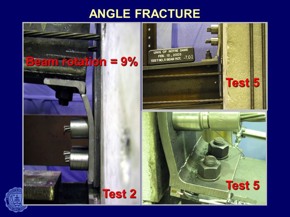 ANGLE FRACTURE Beam rotation = 9% Test 2 Test 5