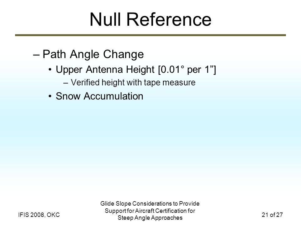 Glide Slope Considerations to Provide Support for Aircraft Certification for Steep Angle Approaches 21 of 27IFIS 2008, OKC Null Reference –Path Angle