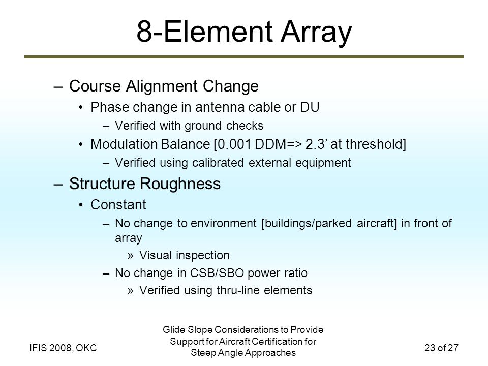 Glide Slope Considerations to Provide Support for Aircraft Certification for Steep Angle Approaches 23 of 27IFIS 2008, OKC 8-Element Array –Course Ali