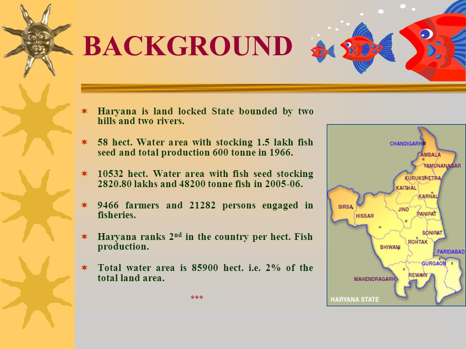 BACKGROUND  Haryana is land locked State bounded by two hills and two rivers.