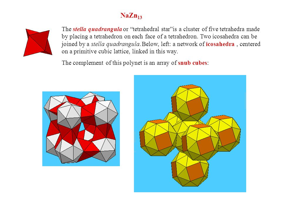 NaZn 13 The stella quadrangula or tetrahedral star is a cluster of five tetrahedra made by placing a tetrahedron on each face of a tetrahedron.
