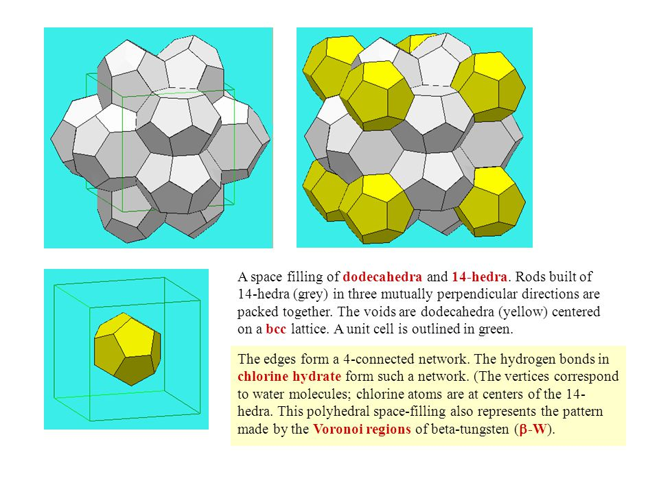 A space filling of dodecahedra and 14-hedra.