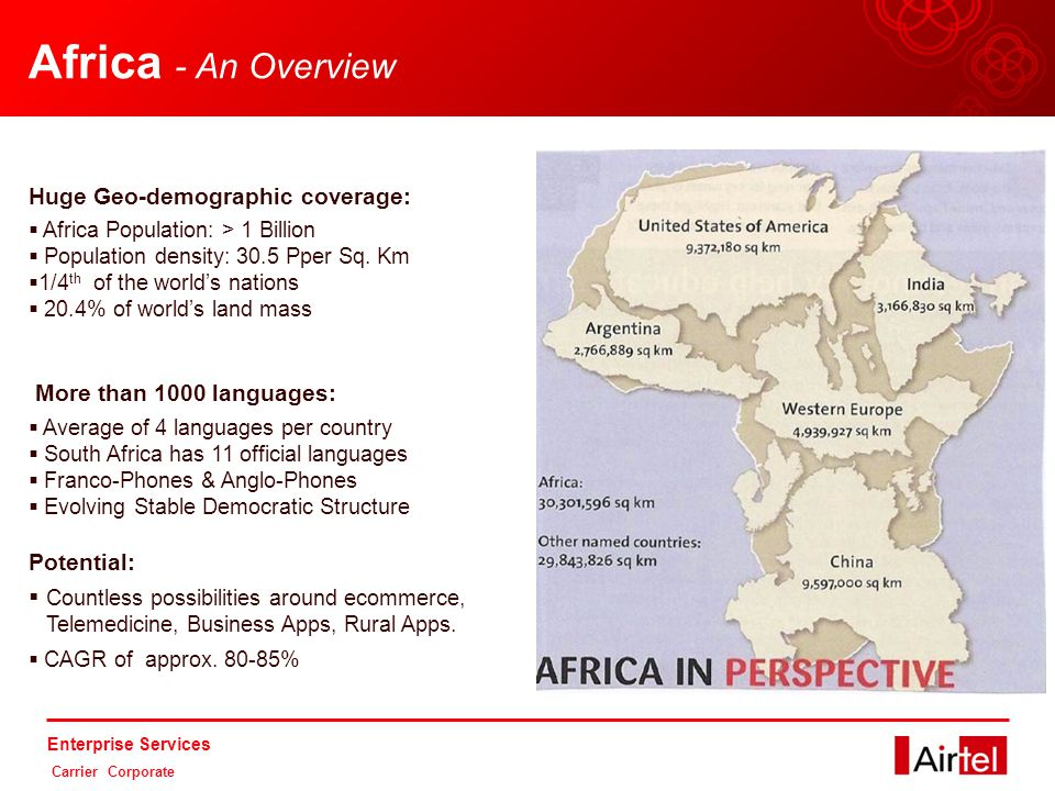 Enterprise Services Carrier Corporate Africa - An Overview Huge Geo-demographic coverage:  Africa Population: > 1 Billion  Population density: 30.5 Pper Sq.