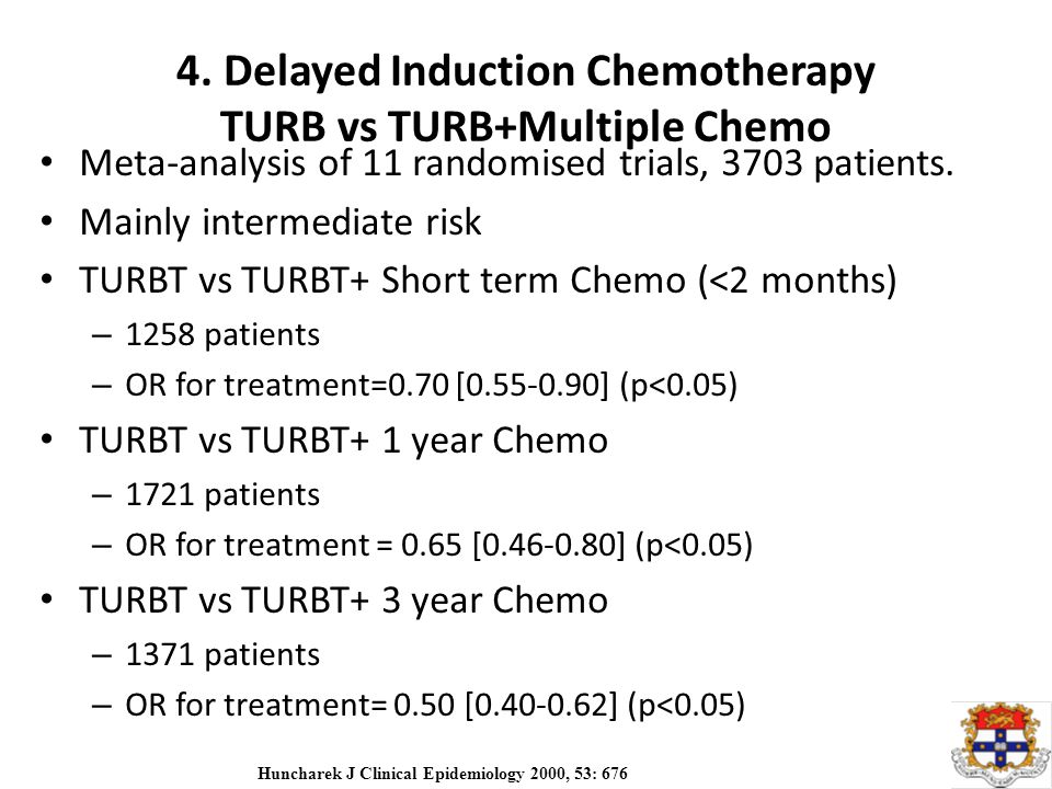 4. Delayed Induction Chemotherapy TURB vs TURB+Multiple Chemo Meta-analysis of 11 randomised trials, 3703 patients. Mainly intermediate risk TURBT vs