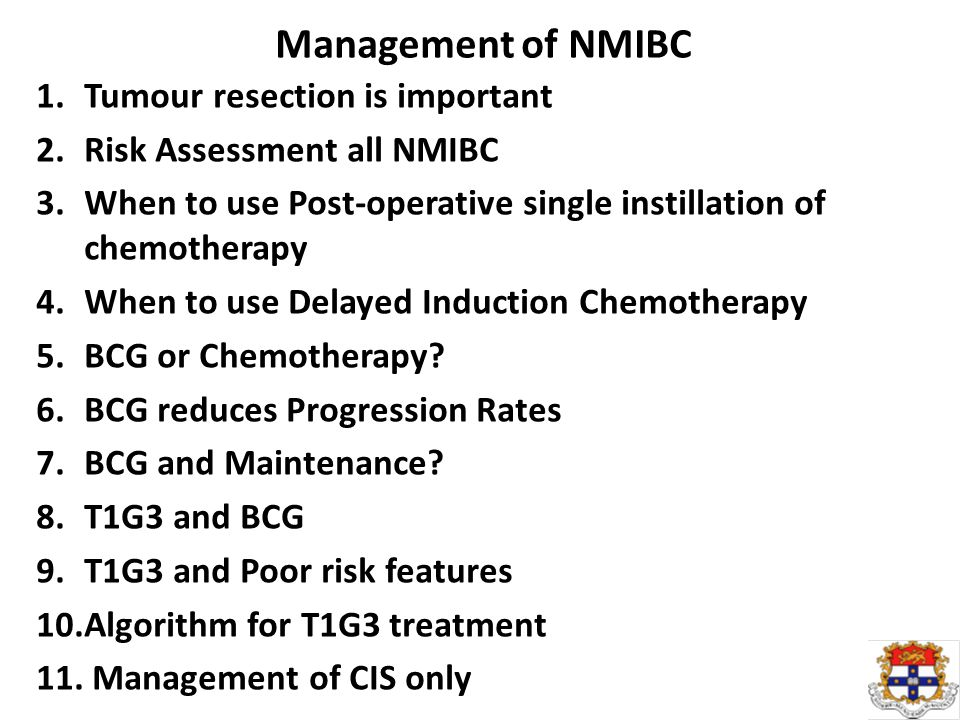 Management of NMIBC 1.Tumour resection is important 2.Risk Assessment all NMIBC 3.When to use Post-operative single instillation of chemotherapy 4.When to use Delayed Induction Chemotherapy 5.BCG or Chemotherapy.