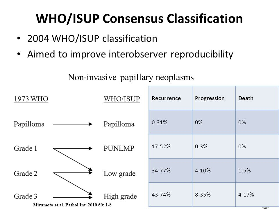 WHO/ISUP Consensus Classification 2004 WHO/ISUP classification Aimed to improve interobserver reproducibility RecurrenceProgressionDeath 0-31%0% 17-52%0-3%0% 34-77%4-10%1-5% 43-74%8-35%4-17% Non-invasive papillary neoplasms Miyamoto et.al.