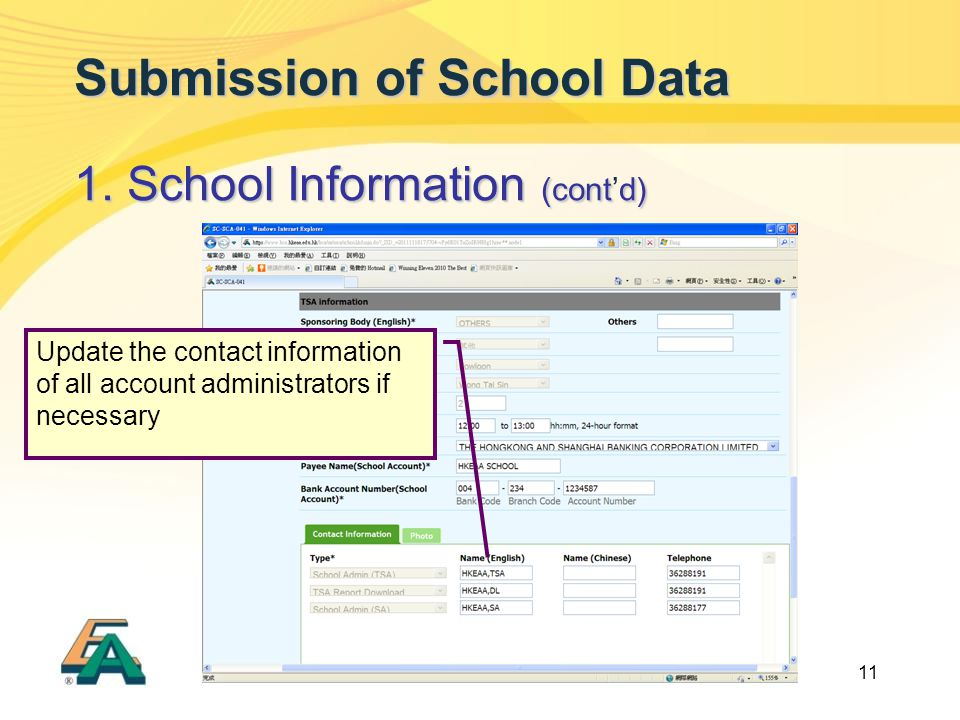 11 Submission of School Data 1. School Information (contd) 1. School Information (cont'd) Update the contact information of all account administrators