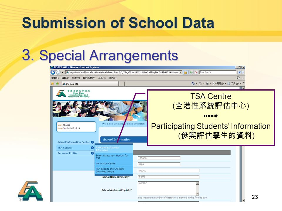 23 Submission of School Data 3.