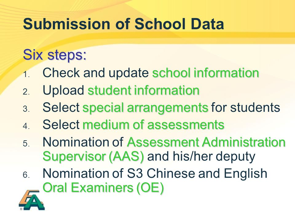 Submission of School Data Six steps: school information  Check and update school information student information  Upload student information speci