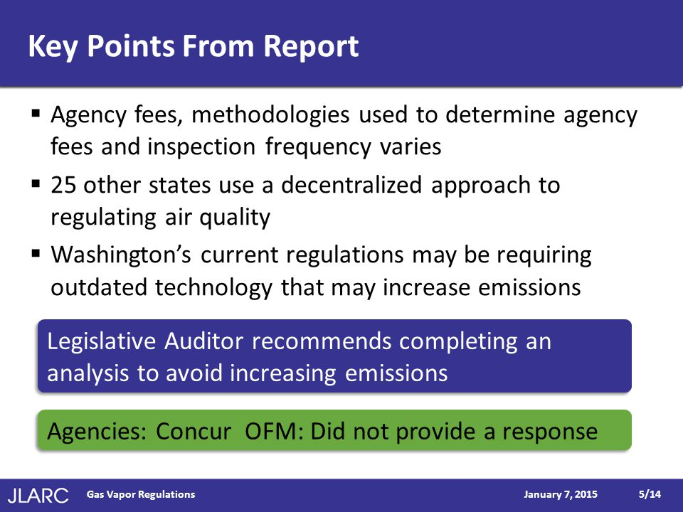 Key Points From Report  Agency fees, methodologies used to determine agency fees and inspection frequency varies  25 other states use a decentralized approach to regulating air quality  Washington's current regulations may be requiring outdated technology that may increase emissions January 7, 2015Gas Vapor Regulations5/14 Legislative Auditor recommends completing an analysis to avoid increasing emissions Agencies: Concur OFM: Did not provide a response