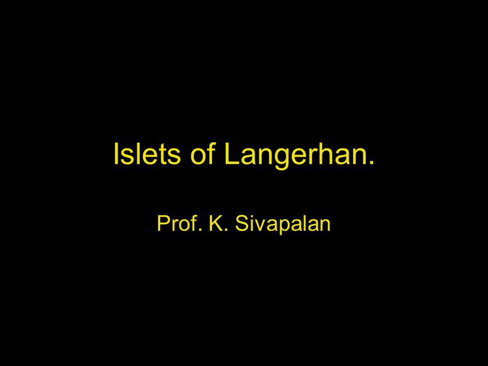 Islets of Langerhan. Prof. K. Sivapalan