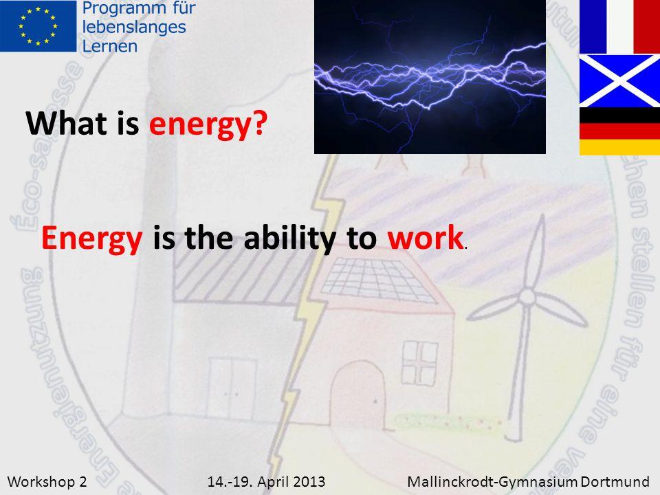 Workshop 214.-19.April 2013Mallinckrodt-Gymnasium Dortmund What is energy.