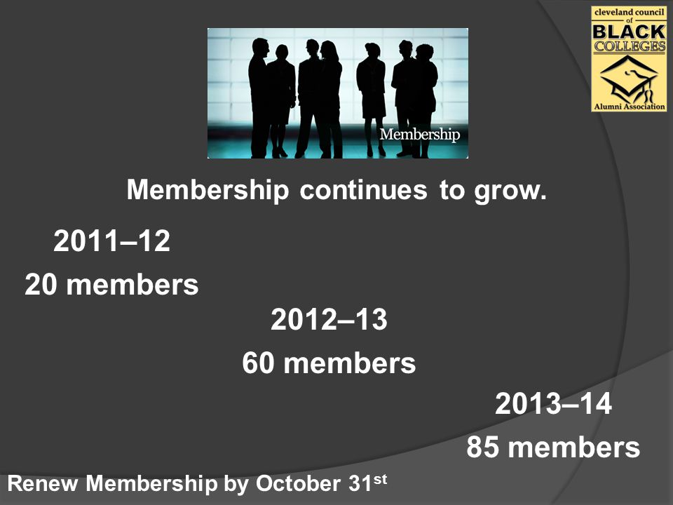 Membership continues to grow.
