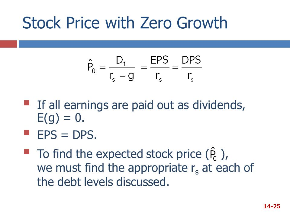 Stock Price with Zero Growth  If all earnings are paid out as dividends, E(g) = 0.  EPS = DPS.  To find the expected stock price ( ), we must find