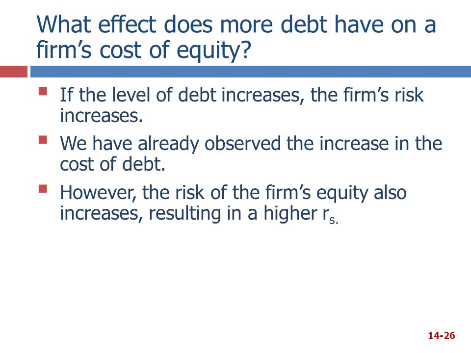  If the level of debt increases, the firm's risk increases.  We have already observed the increase in the cost of debt.  However, the risk of the f