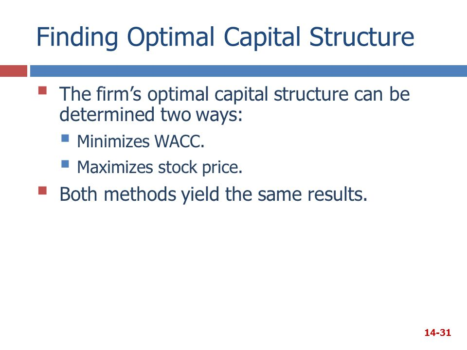Finding Optimal Capital Structure  The firm's optimal capital structure can be determined two ways:  Minimizes WACC.  Maximizes stock price.  Both