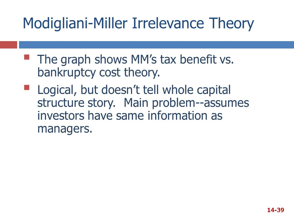 Modigliani-Miller Irrelevance Theory  The graph shows MM's tax benefit vs. bankruptcy cost theory.  Logical, but doesn't tell whole capital structur