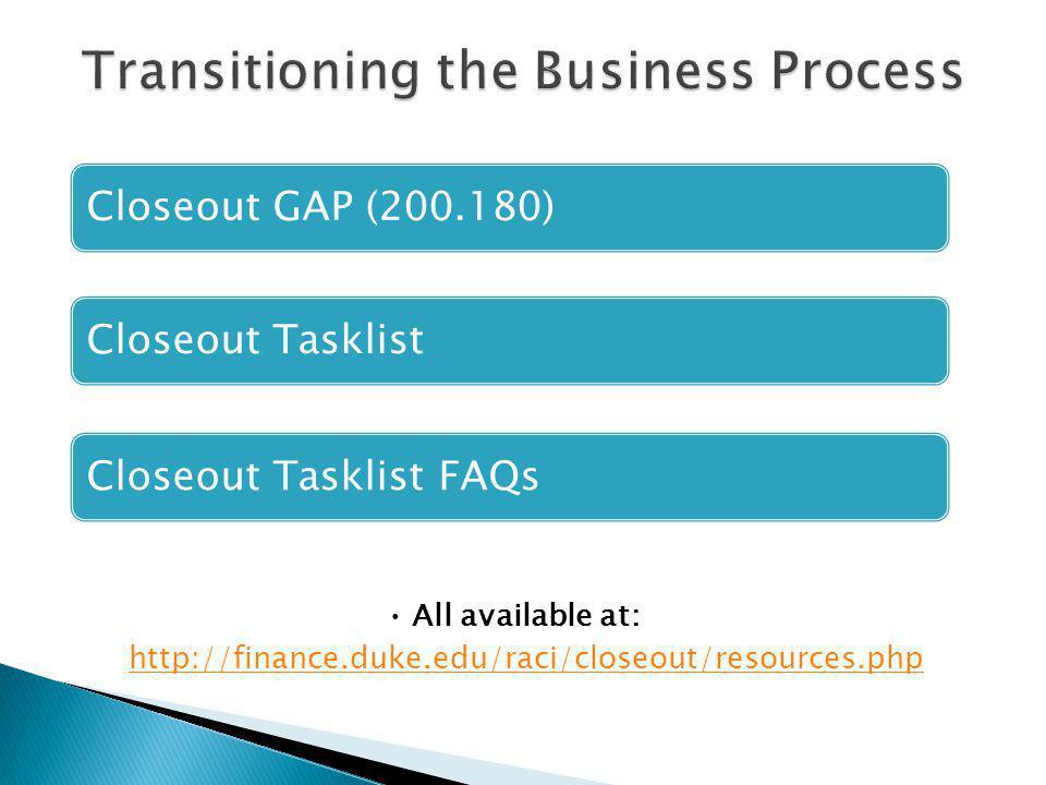 Closeout GAP (200.180)Closeout TasklistCloseout Tasklist FAQs All available at: http://finance.duke.edu/raci/closeout/resources.php http://finance.duke.edu/raci/closeout/resources.php