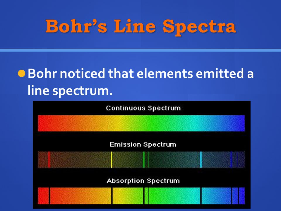 Bohr's Line Spectra Bohr noticed that elements emitted a line spectrum.