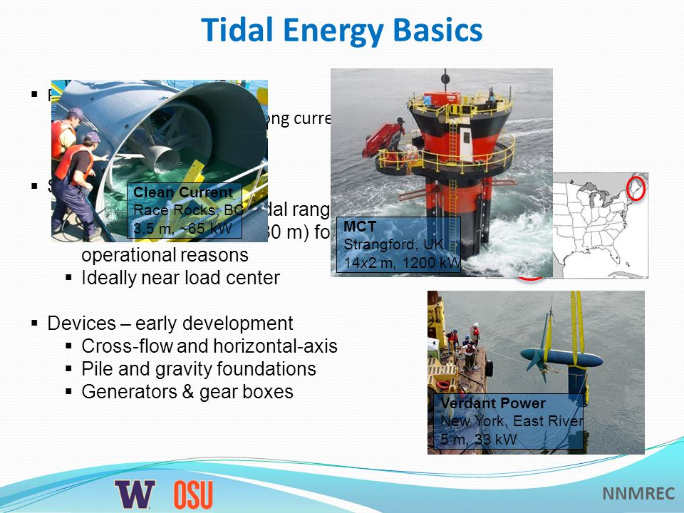 NNMREC Tidal Energy Basics  Power  Technology requires strong currents (> 1 m/s)  Power density ~ V 3  Siting  Estuaries with large tidal ranges  Relatively shallow (< 80 m) for operational reasons  Ideally near load center  Devices – early development  Cross-flow and horizontal-axis  Pile and gravity foundations  Generators & gear boxes MCT Strangford, UK 14x2 m, 1200 kW Clean Current Race Rocks, BC 3.5 m, ~65 kW Verdant Power New York, East River 5 m, 33 kW