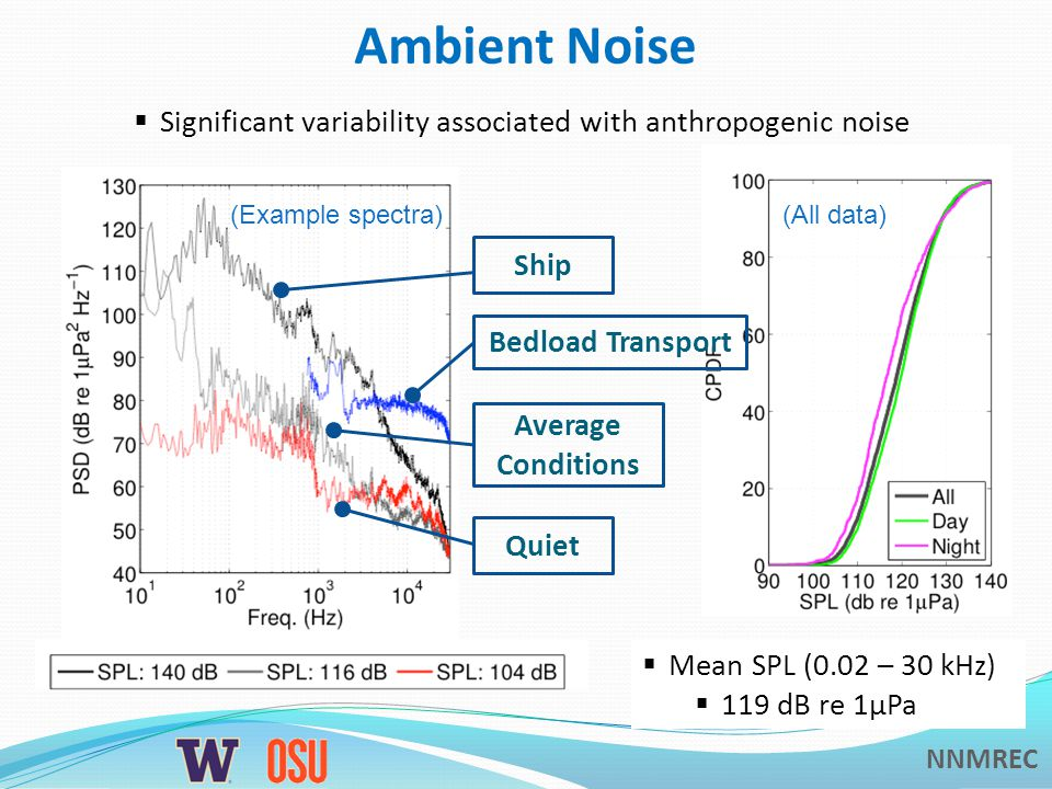 NNMREC Ambient Noise  Mean SPL (0.02 – 30 kHz)  119 dB re 1μPa  Significant variability associated with anthropogenic noise (Example spectra)(All data) Bedload Transport Ship Average Conditions Quiet
